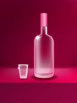 Реалистичная классическая водочная стеклянная бутылка для бутылок с алкогольными напитками