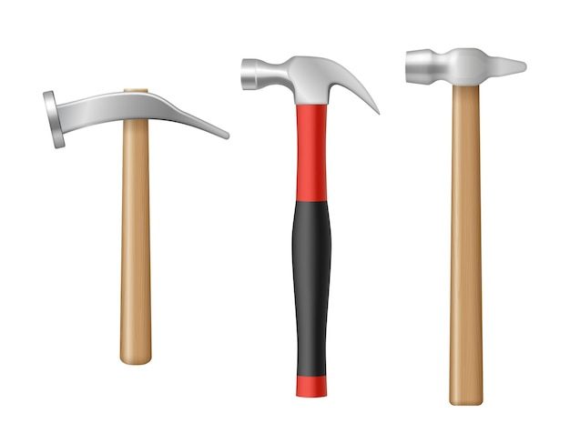 Realistic claw hammers set with rubber and wooden handle. collection of carpenter workers instrument for renovation service. 3d vector illustration