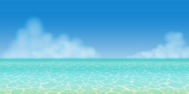 Реалистичная прозрачная бирюзовая летняя морская вода в панорамном виде с голубым небом и облаками