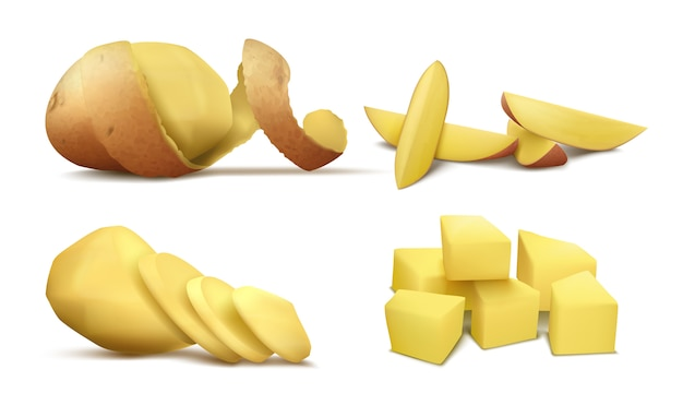 Реалистичный клипарт с сырым очищенным картофелем, весь овощ с коричневой спиральной кожурой и ломтиками