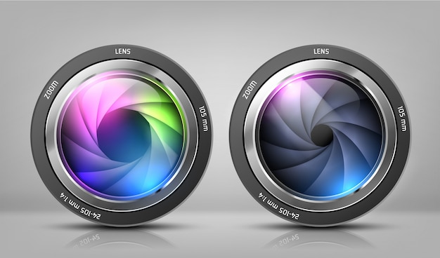 Realistic clipart with two camera lenses, photo objectives with zoom