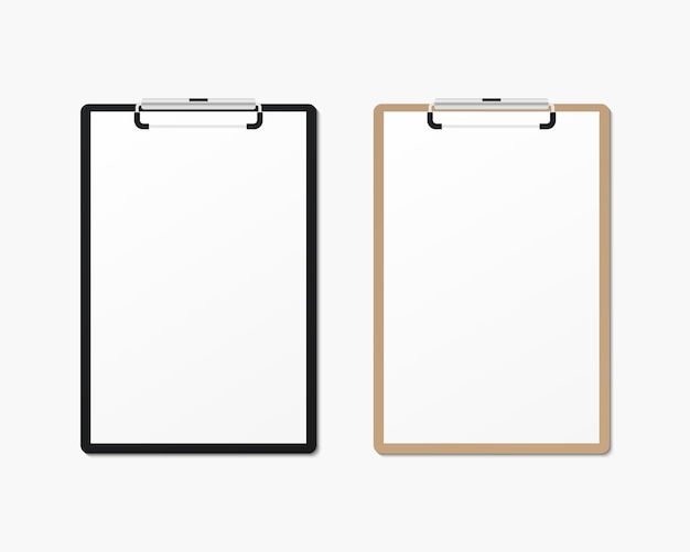 Realistic clipboard with blank paper