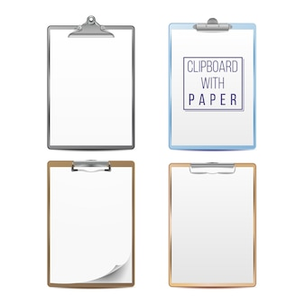 Realistic clipboards set.