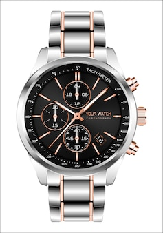 Realistic clock chronograph steel copper white background.
