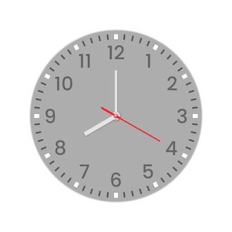 分、時間、秒針を備えたリアルな時計の文字盤。赤い中心。 webおよびモバイルuiに使用する、白のシンボルウォッチ。