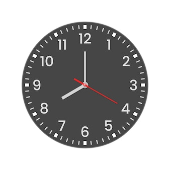 Realistic clock face with minute, hour numbers and second hand. red center. symbol watch isolated