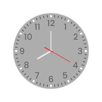 Realistic clock face with minute, hour numbers and second hand. red center. symbol watch  on white, to use for web and mobile ui.