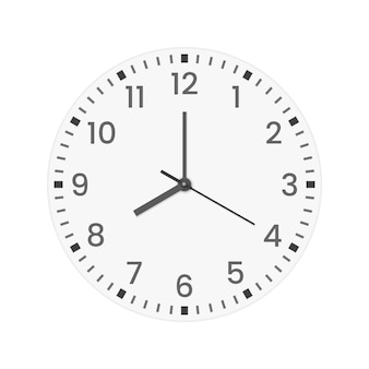 Realistic clock face with minute, hour numbers and second hand.
