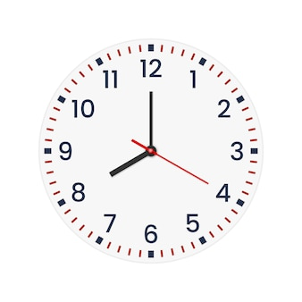 Realistic clock face with minute, hour numbers.