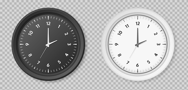 Realistic clock. round white and black metal or plastic office clocks. vector retro quartz watch on wall for business office isolated on transparent background