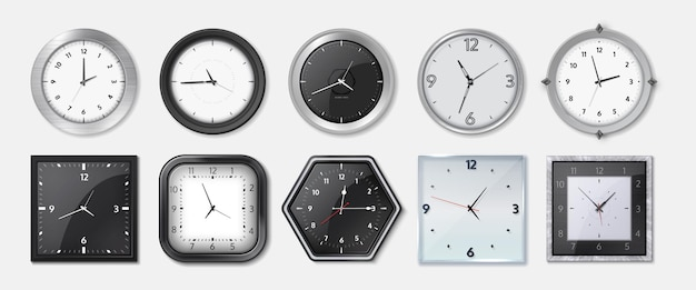 Realistic clock. square and round metal and plastic office clocks with black and white dials, bezels