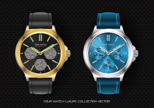 Realistic clock watch chronograph collection