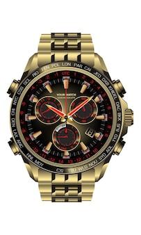 白い背景のイラストの男性のためのリアルな時計時計クロノグラフゴールドブラックレッドデザイン。