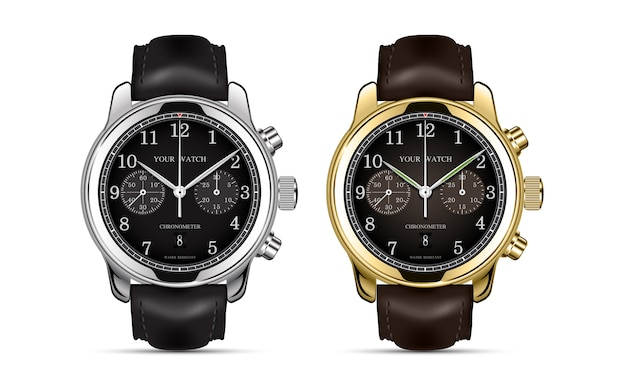 Realistic clock watch chronograph gold and silver leather strap collection.