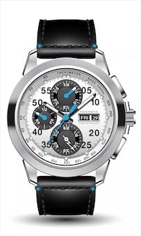 Реалистичные часы, хронограф, сталь, серебро, голубая стрелка, черная кожа