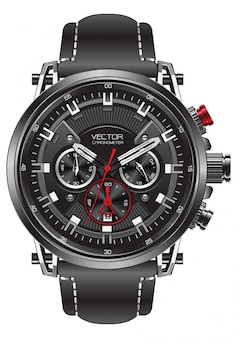 Realistic clock watch sport chronograph black red steel