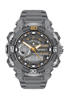 Realistic clock watch sport chronograph white background.
