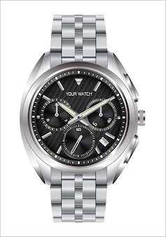 Realistic clock watch stainless steel black face luxury.