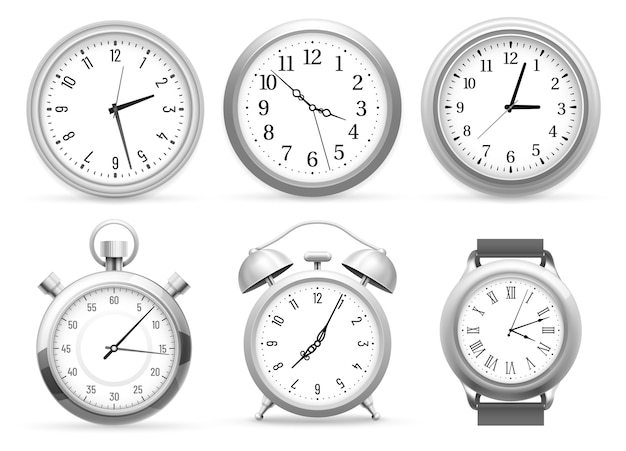 Realistic clocks. wall round clock, alarm and wristwatches.