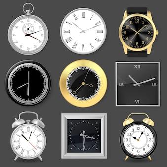 Realistic clocks. wristwatch, alarm clock and silver metal wall clocks, 3d clock face set