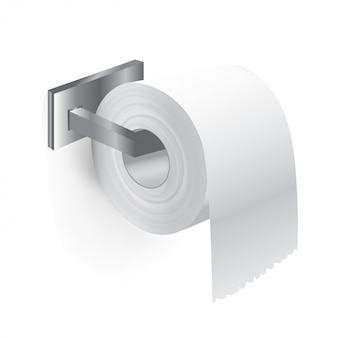 Realistic close up toilet paper from roll holder in bathroom