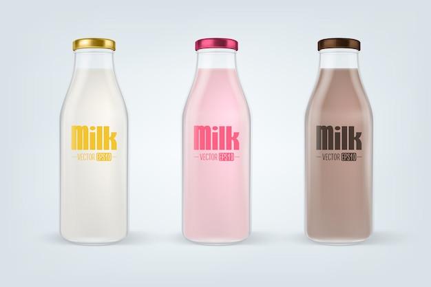 現実的な閉じた完全なガラス牛乳瓶セットのクローズアップは、白い背景で隔離。