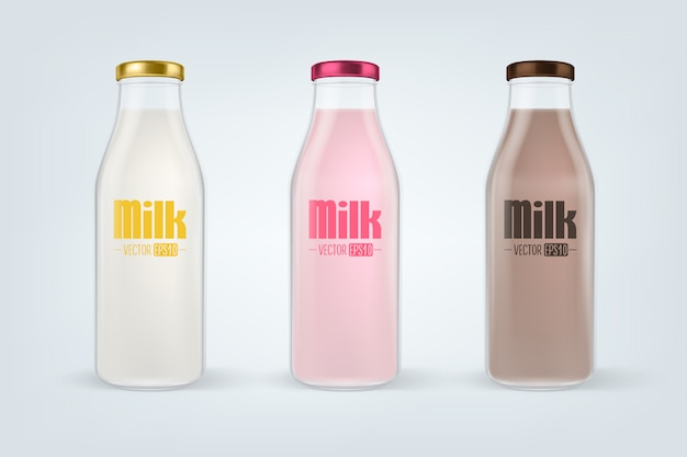 Realistic closed full glass milk bottle set closeup isolated on white background.