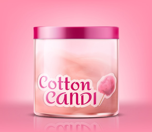 Realistic closed glass jar with cotton candy, isolated on pink background.