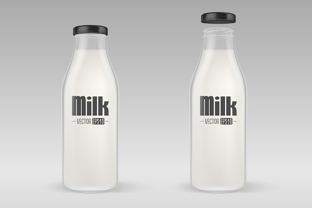 Realistic closed and open full glass milk bottle set with black lid closeup on grey background.