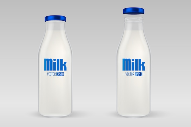 Realistic closed and open full glass milk bottle set with blue lid closeup on grey background.
