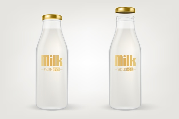 Realistic closed and open full glass milk bottle set with golden lid closeup isolated on white background.