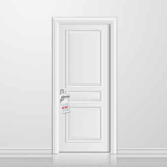 Realistic closed white entrance door with do not disturb tag