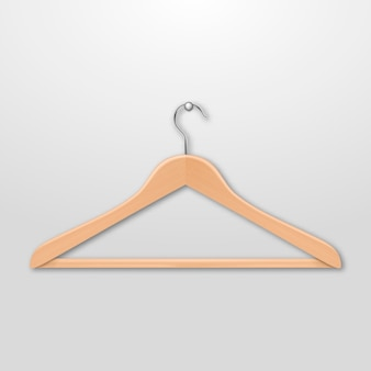 Realistic  clothes coat wooden hanger close up  on white background.