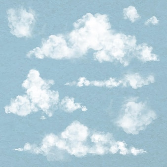 Realistic cloud element vector set in blue background