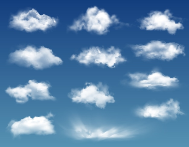 Realistic clouds in blue sky or heaven background