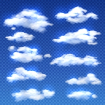 Realistic clouds isolated on checkered background. set of clouds in blue sky