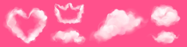 Realistic clouds in shape of heart and crown on pink