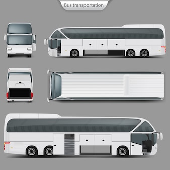 Realistic coach bus mockup back, top view