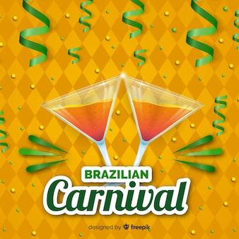 Realistic cocktail brazilian carnival background