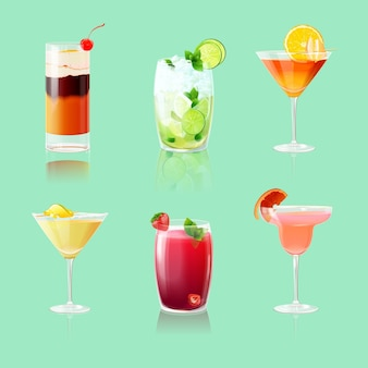 Realistic cocktail collection