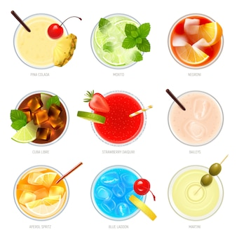 Realistic cocktails top view set with nine isolated images of cocktail glasses with toppings and text  illustration