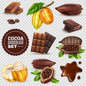 Realistic cocoa transparent  set