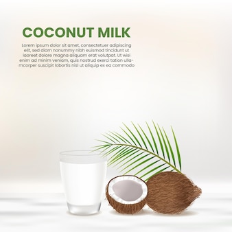 Realistic coconut and a glass of coconut milk