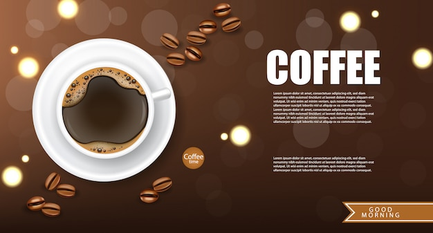 Realistic coffee, arabica 100%, coffee banner, beans and hot drink, good morning, illustration