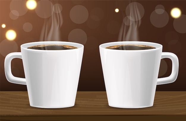 Realistic coffee, arabica 100%, coffee banner, beans and hot drink, good morning, two coffee cups illustration