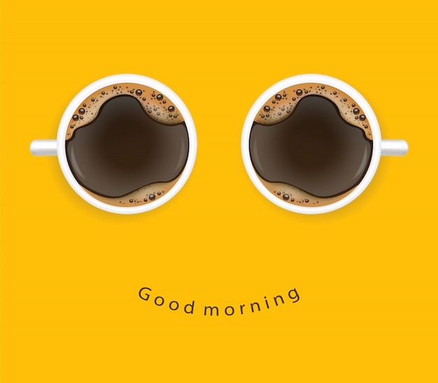 Realistic coffee, arabica 100%, coffee banner, good morning, illustration