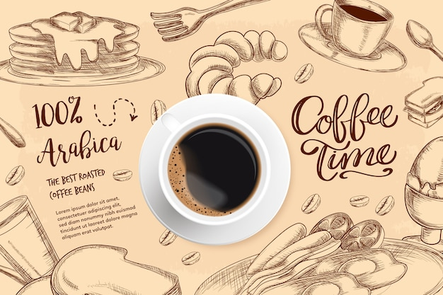 Realistic coffee background with drawings