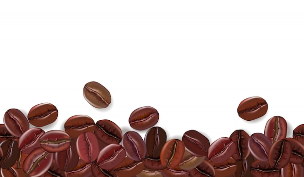Realistic coffee beans background with white the place for text. illustration