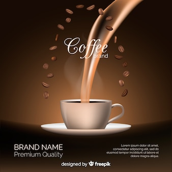 Realistic coffee brand background