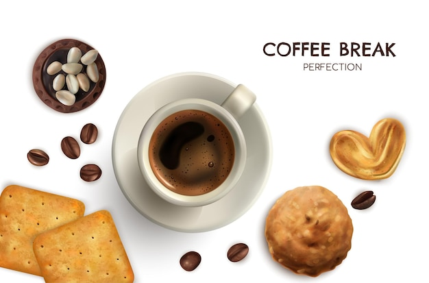 Realistic coffee break and cookies illustration